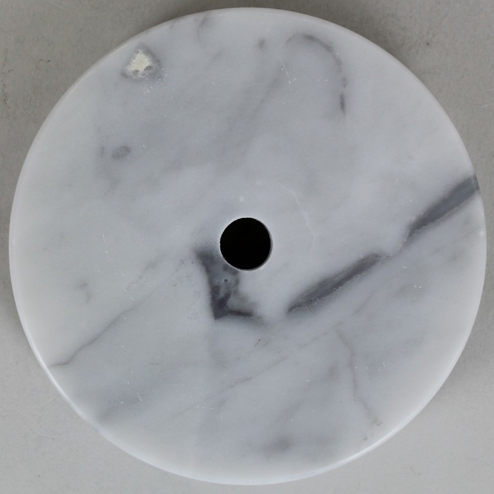 4in diameter round white marble lamp base