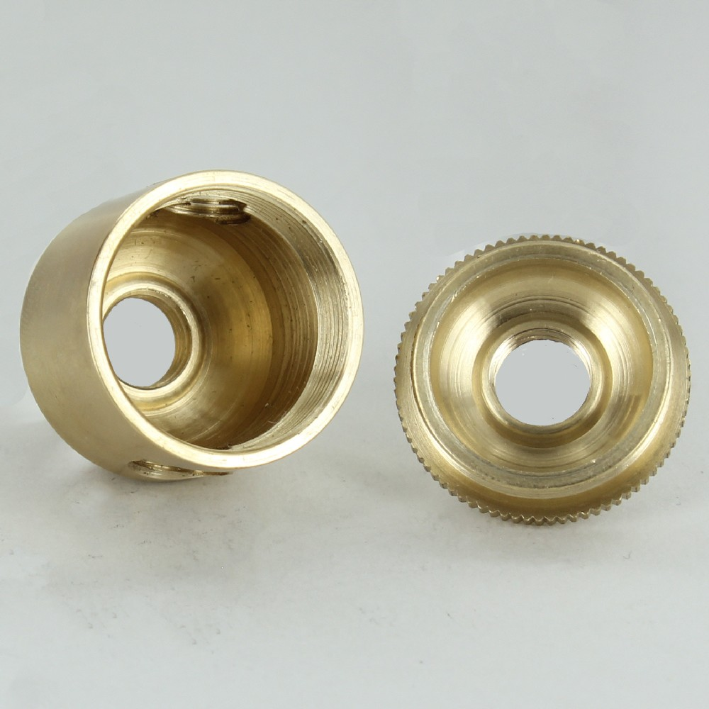 """NEW-OLD STOCK Turned Brass 4 hole Small Cluster Body 2 part 1-1//8/""""d x 1-1//8/""""h"""