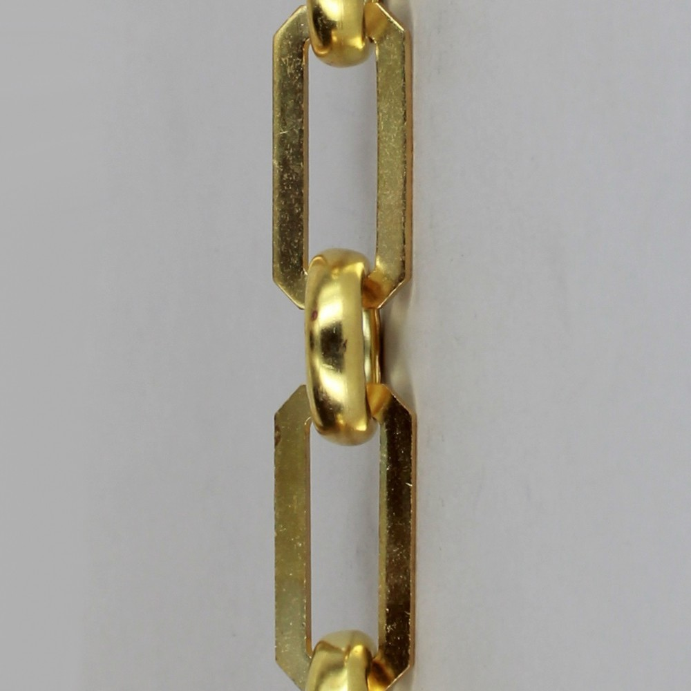 UNFINISHED BRASS RECTANGULAR SHAPE LAMP CHAIN WITH ROUND JOINING LINKS