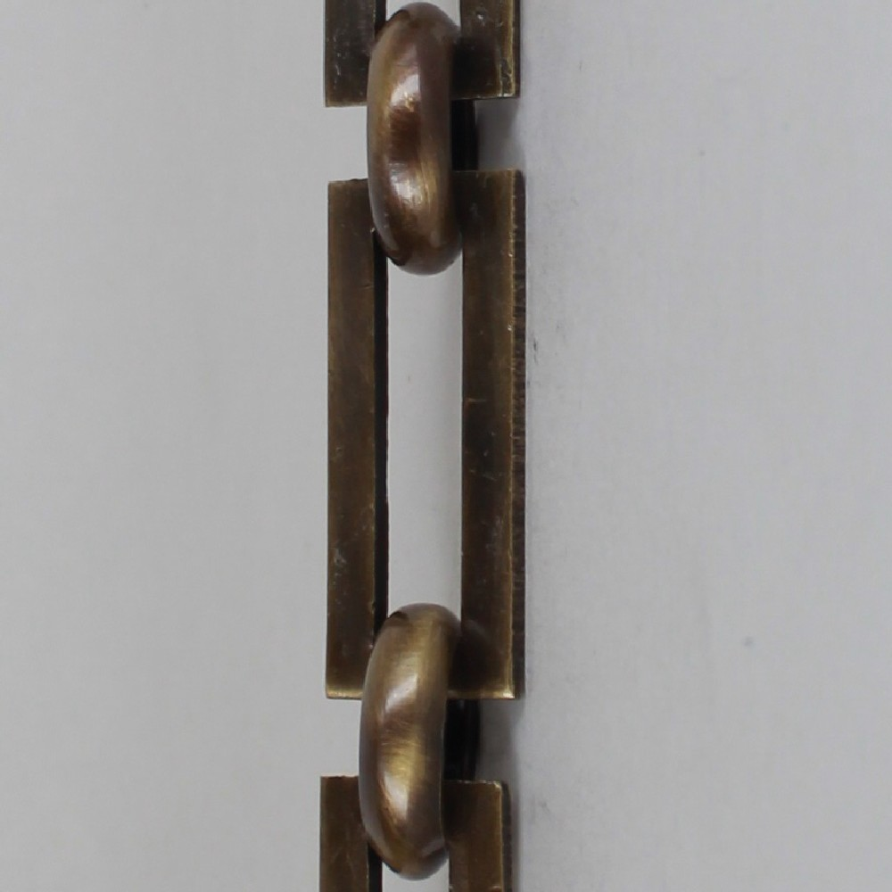 ANTIQUE BRASS FINISH RECTANGULAR SHAPE CHAIN WITH ROUND LINKS