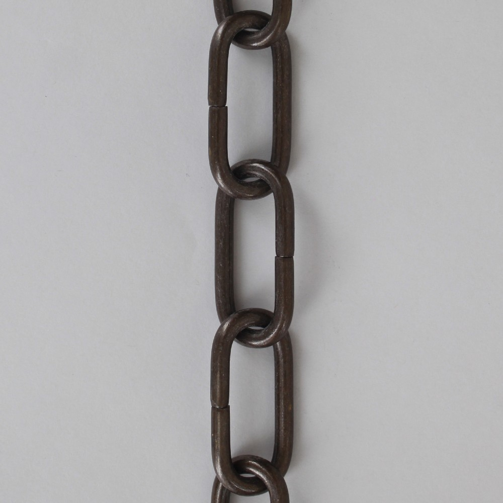 3/16in Thick Brass Large Oval Lamp Chain - Antique Bronze Finish