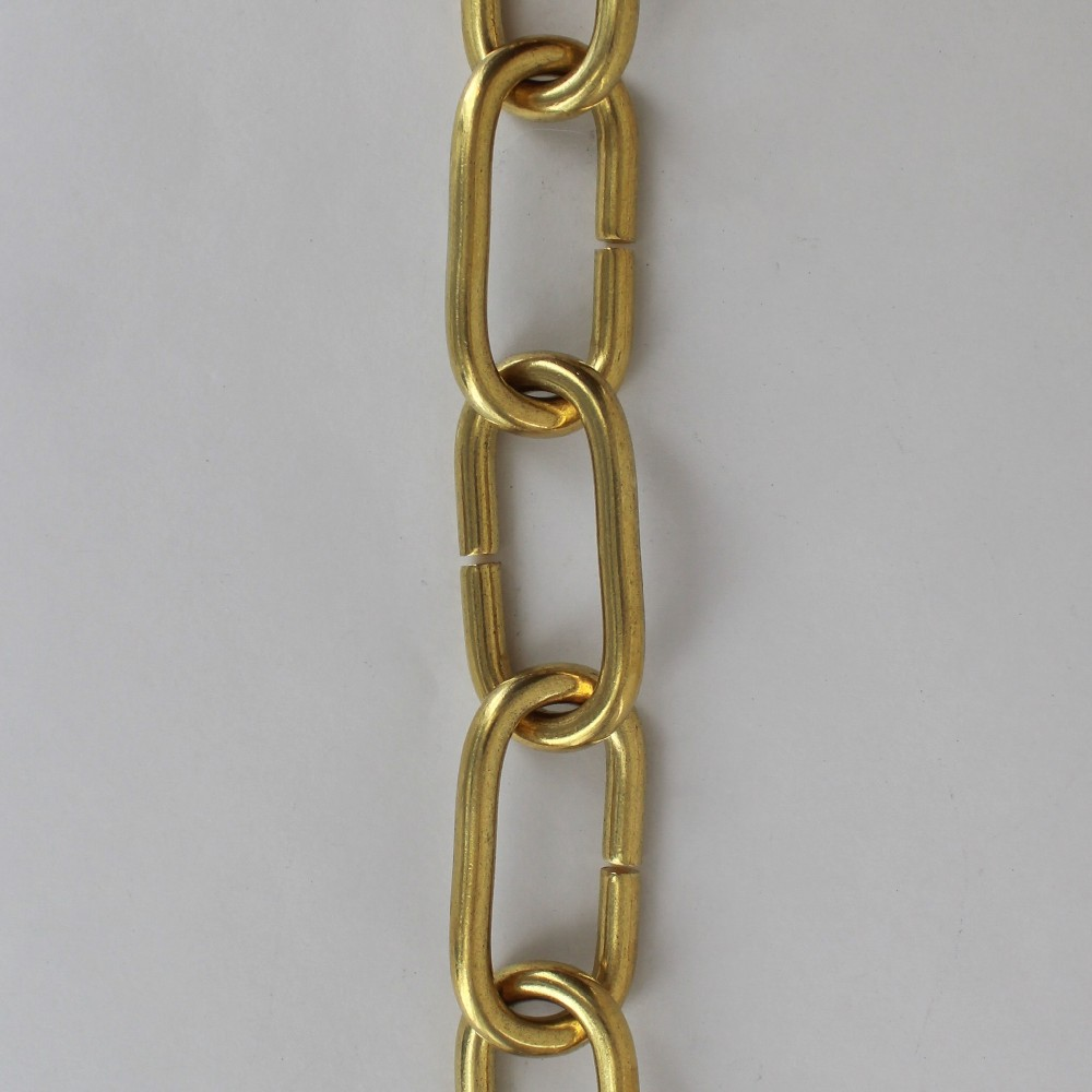 5/16in. Thick Solid Brass Large Oval Chain - Unfinished Brass