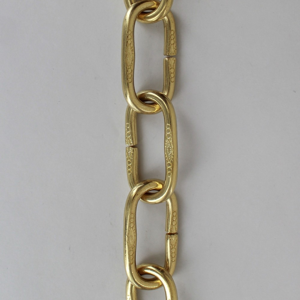 5/16in. Thick Solid Brass Decorative Embossed Large Oval Lamp Chain - Unfinished Brass