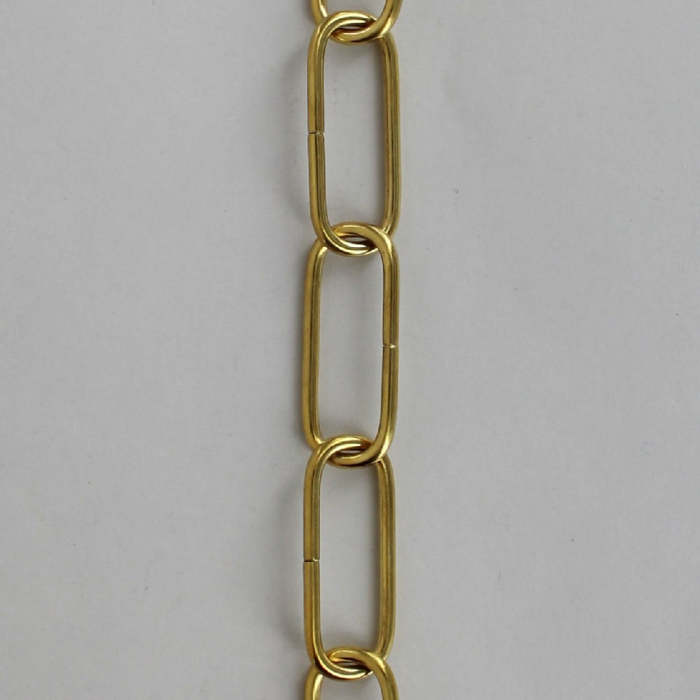 1/8in. Thick Solid Brass Small Elongated Oval Lamp Chain - Unfinished Brass