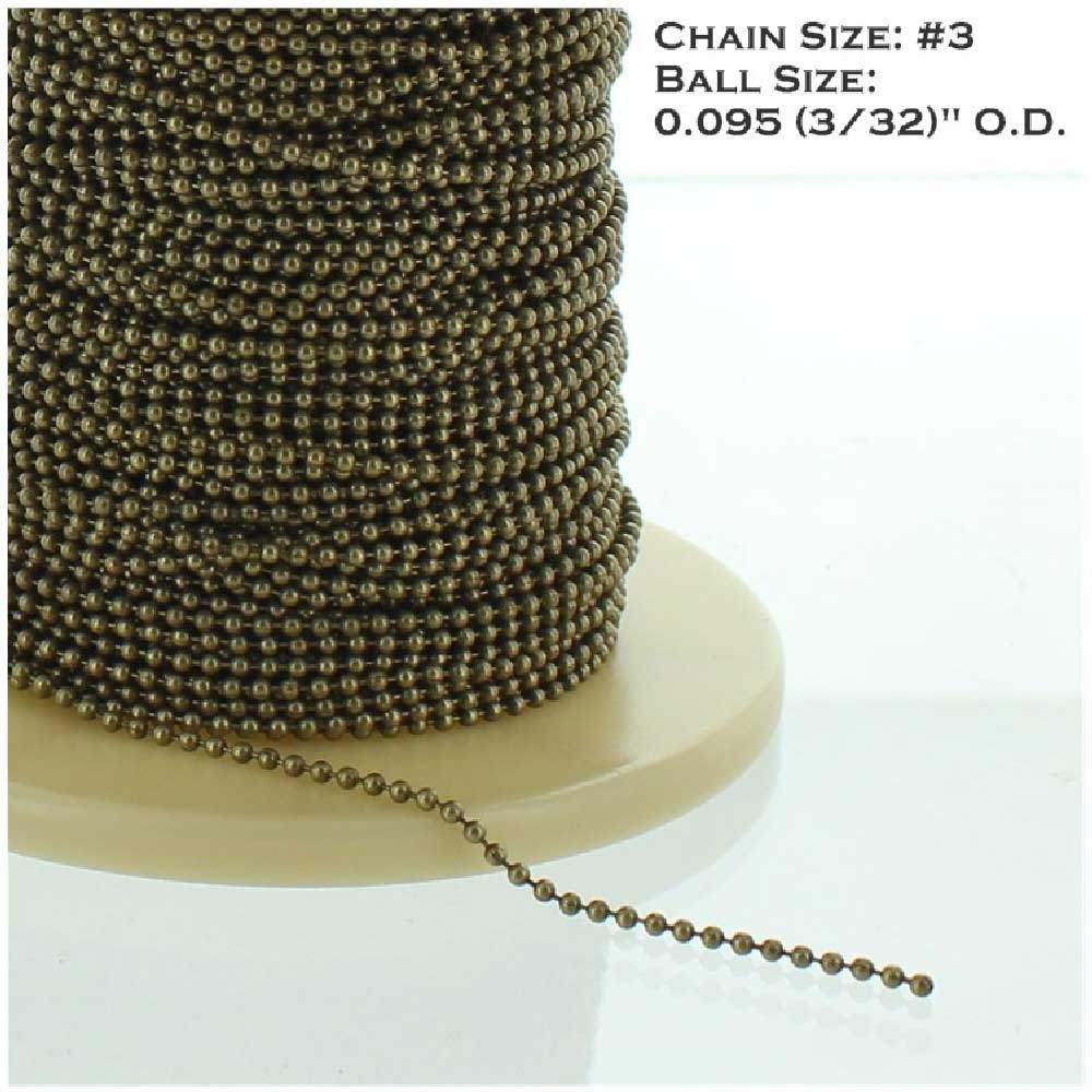 ANTIQUE BRASS FINISH STEEL #3 3/32IN. THICK BEADED CHAIN