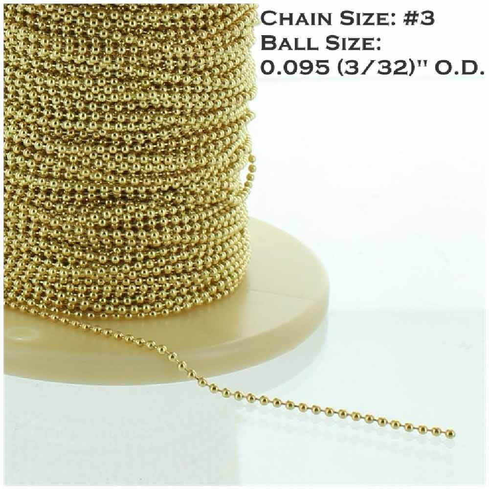 BRASS PLATED STEEL #3 3/32IN. THICK BEADED CHAIN