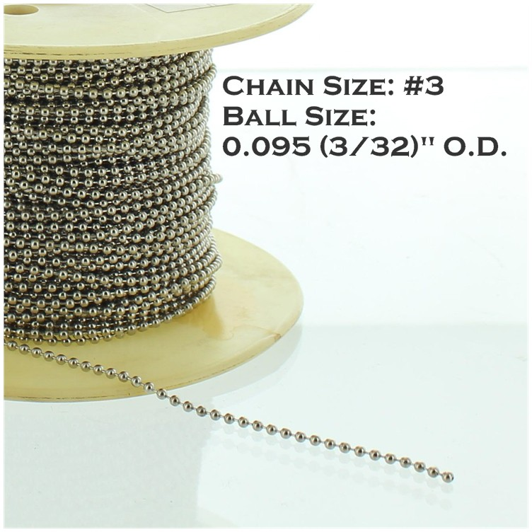 NICKEL PLATED STEEL #3 3/32IN. THICK BEADED CHAIN