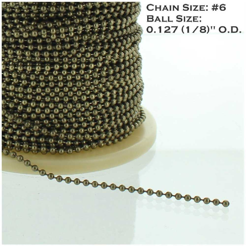 ANTIQUE BRASS FINISH PLATED STEEL #6 5/32IN. THICK BEADED CHAIN
