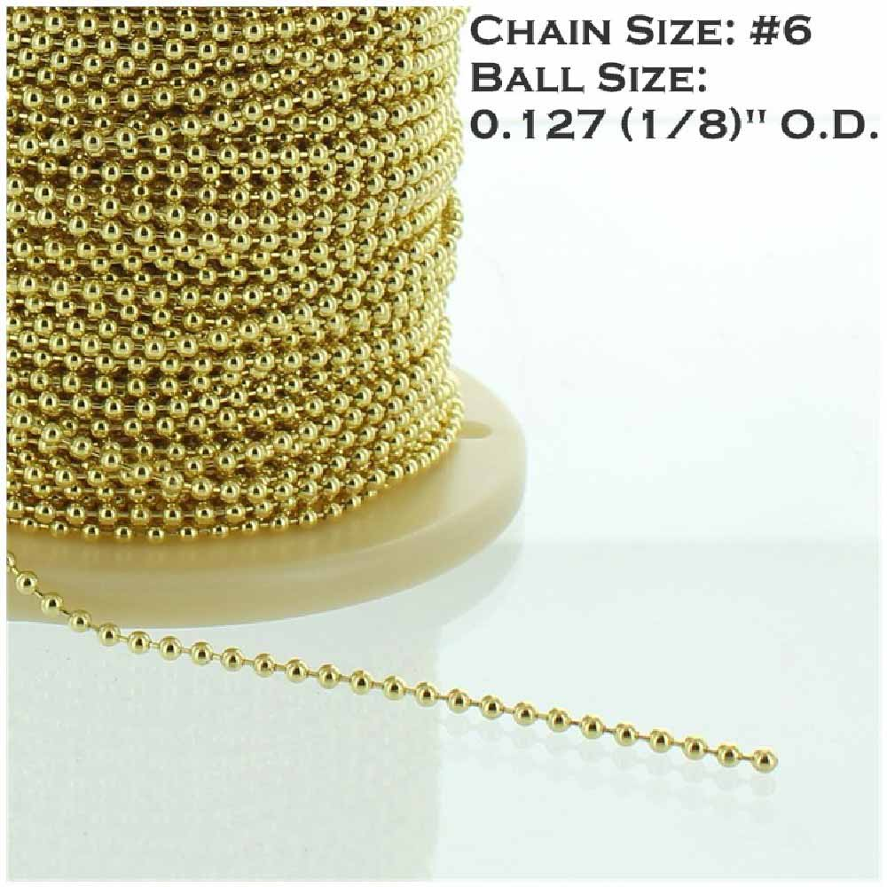 BRASS PLATED STEEL #6 5/32IN. THICK BEADED CHAIN