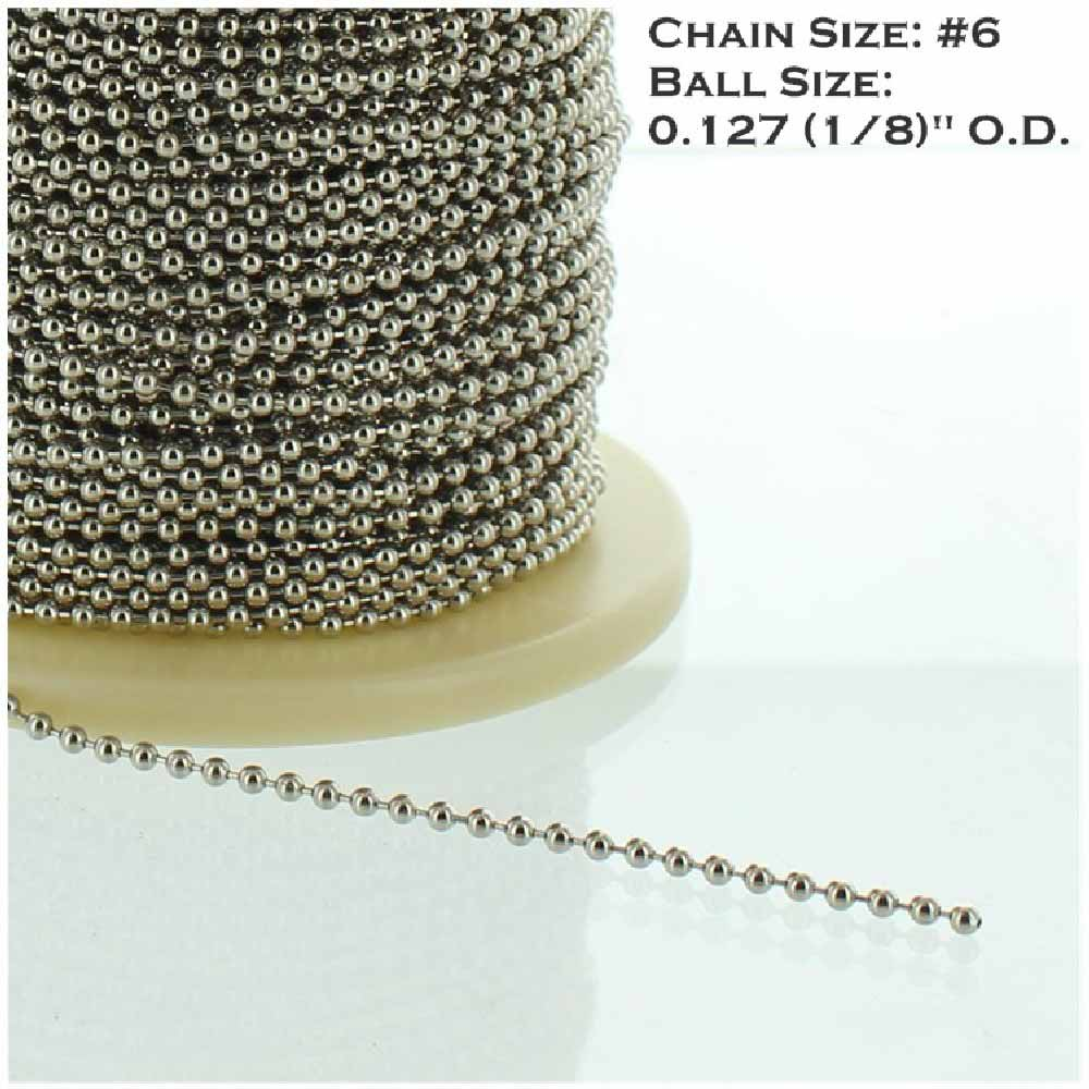 NICKEL PLATED STEEL #6 5/32IN. THICK BEADED CHAIN
