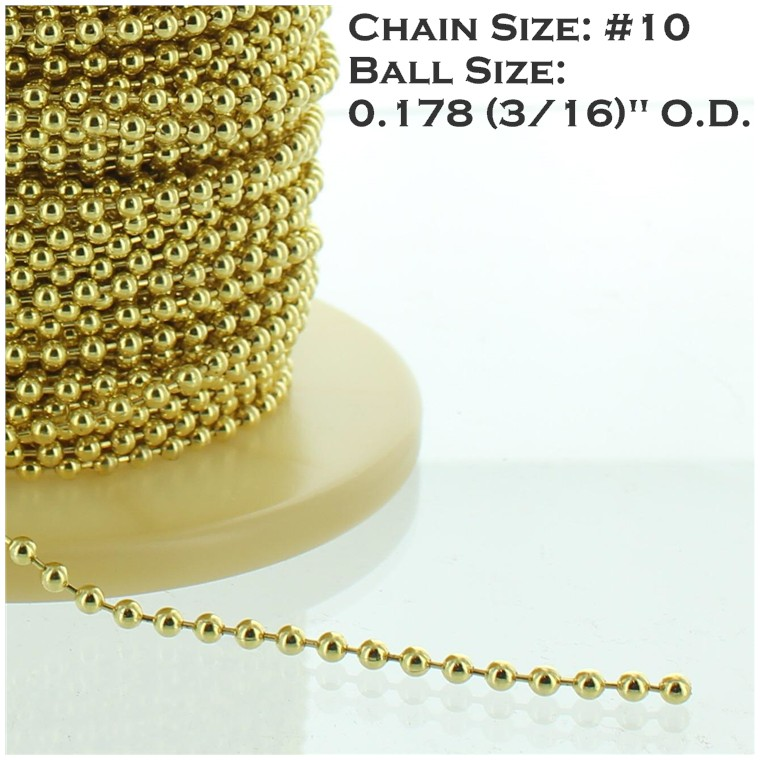 BRASS PLATED STEEL #10 3/16IN. THICK BEADED CHAIN