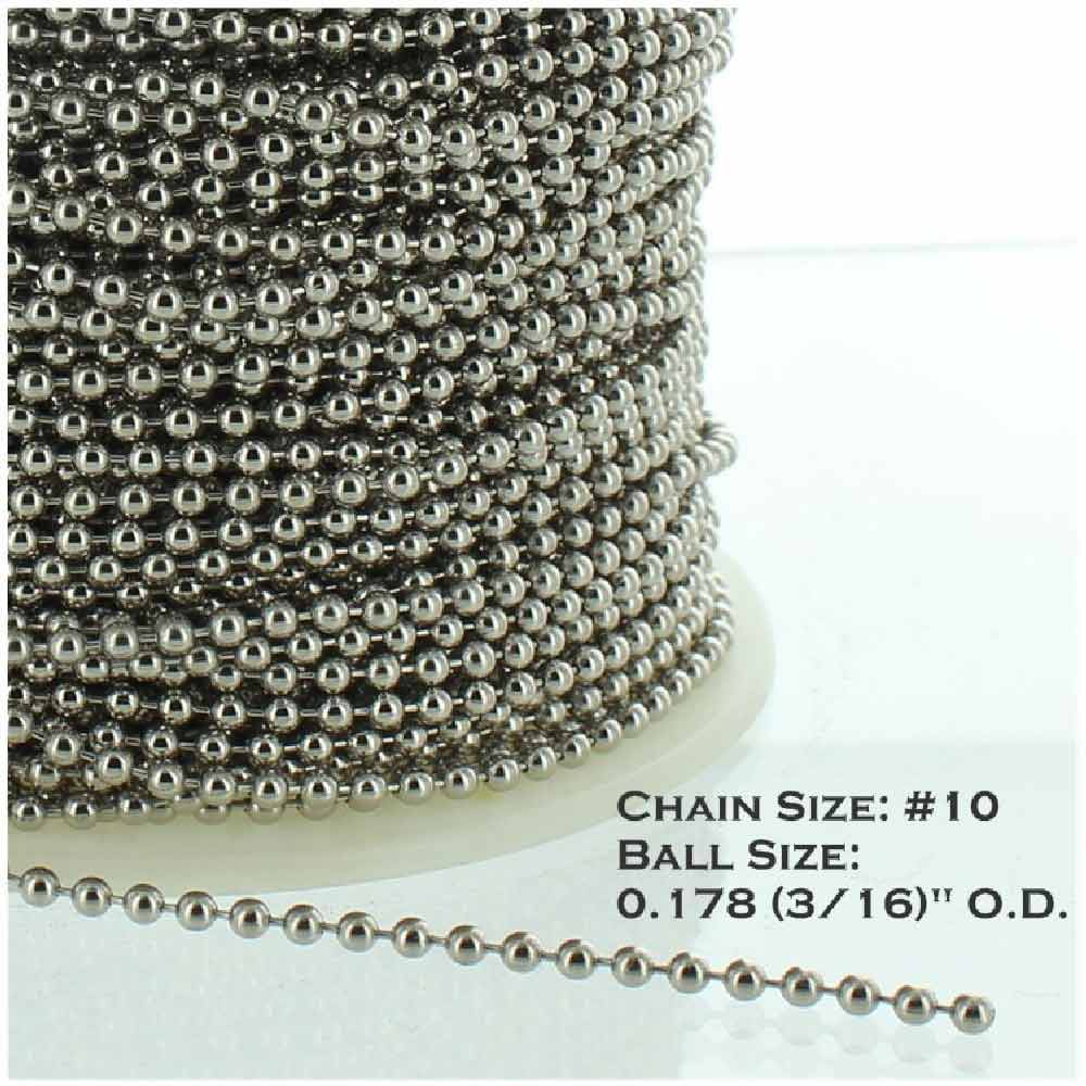 NICKEL PLATED STEEL #10 3/16IN. THICK BEADED CHAIN