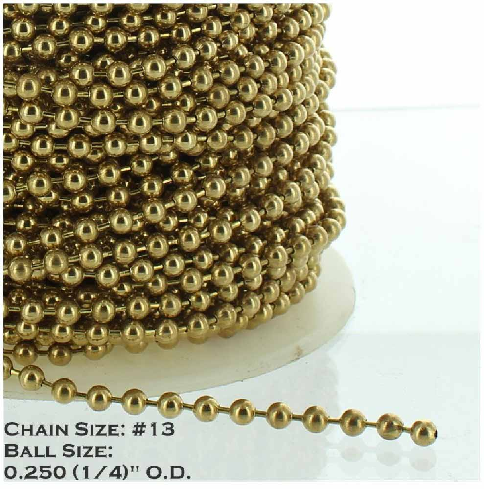 BRASS PLATED STEEL #13 1/4IN. THICK BEADED CHAIN