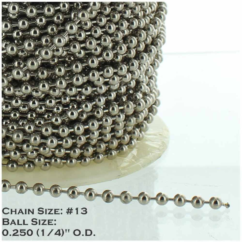 NICKEL PLATED STEEL #13 1/4IN. THICK BEADED CHAIN