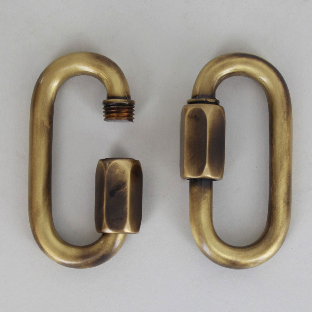 72MM LONG X 37MM WIDE POLISHED ANTIQUE BRASS FINISH BRASS QUICK LINK CHAIN LINK.
