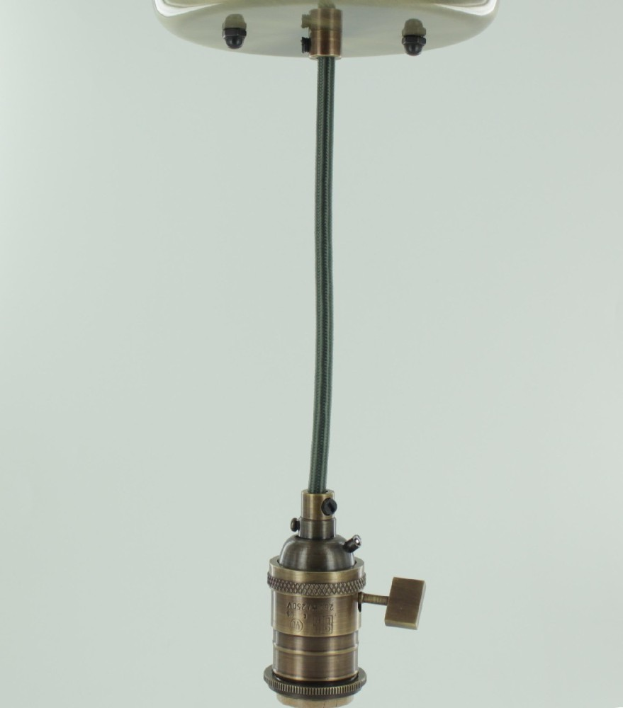 Antique Brass Single Turn Knob Uno Pendant Fixture With 10ft. Forest Green  Fabric Wire
