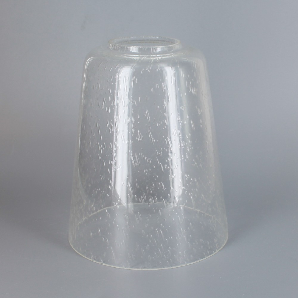 4 72in Diameter X 5 74in Height Clear Seeded Cone Glass Shade With 1 8in Hole