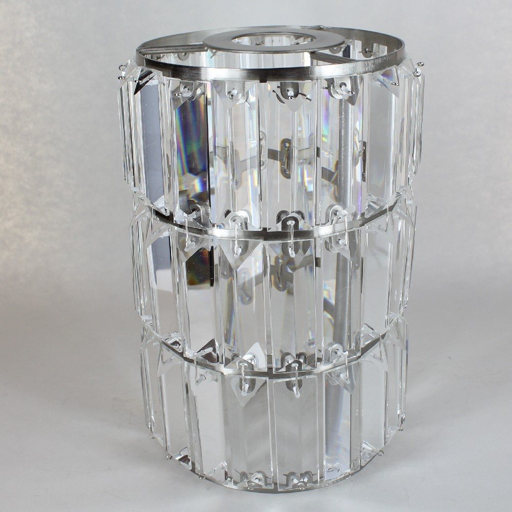 6in Diameter X 8 7 8in Height Brushed Nickel Crystal Prism Cylinder Shade With