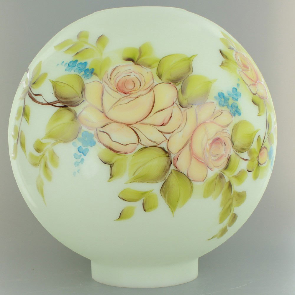 8in Open Ball With Beige And Pink Hand Painted Flowers 4in Bottom Er
