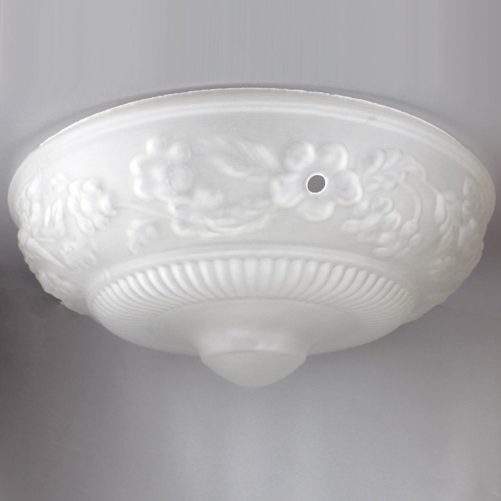 Frosted Embossed Flower 3 Hole Glass Shade