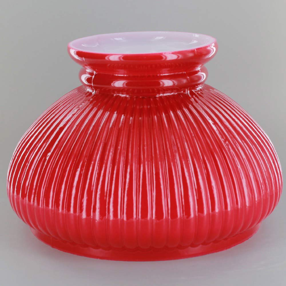Glazed Red Painted Ribbed Student Shade With Ruffle Top And 7in Neck