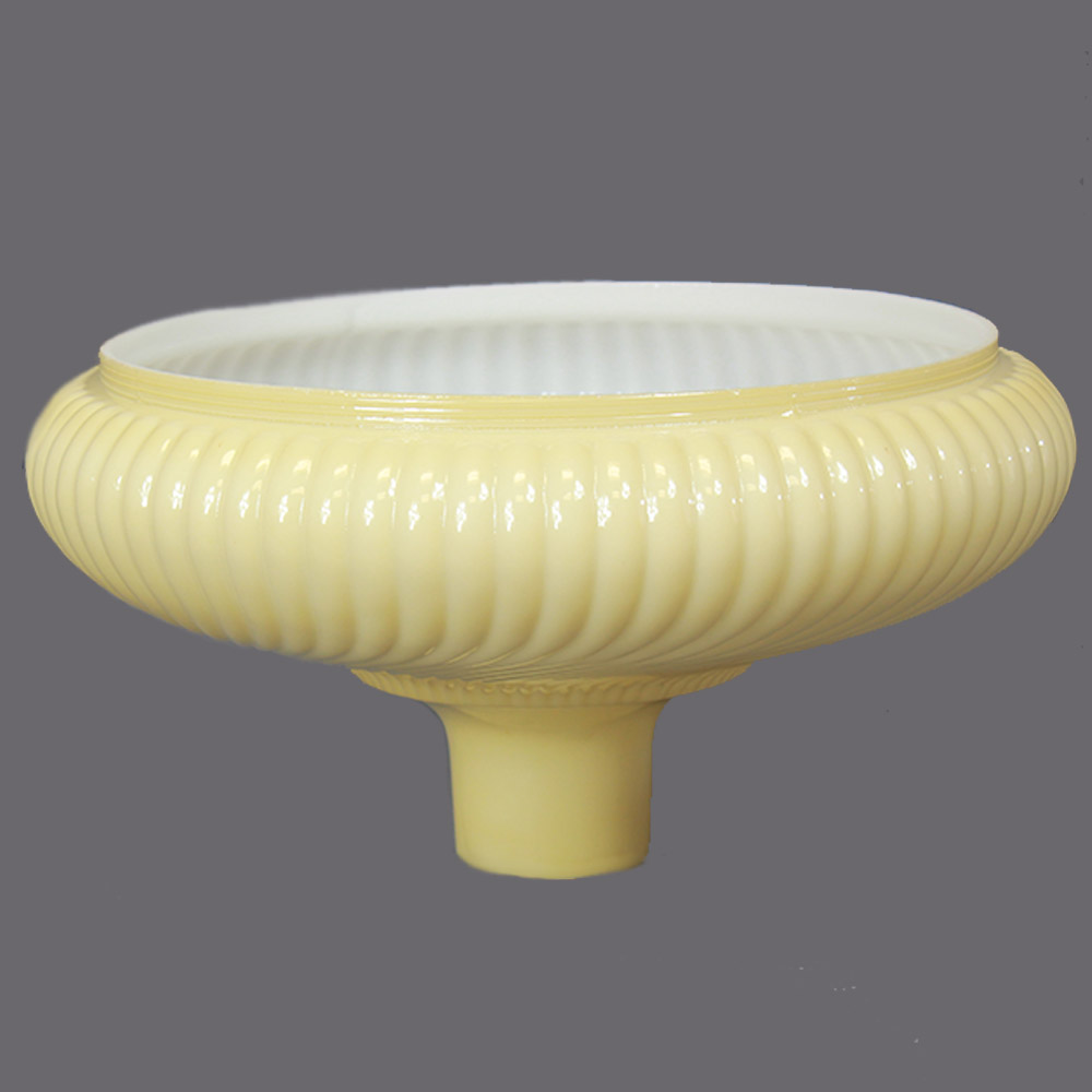 14IN. BUFF COLORED RIBBED SWIRL TORCHIERE SHADE WITH 2-3/4IN. NECK
