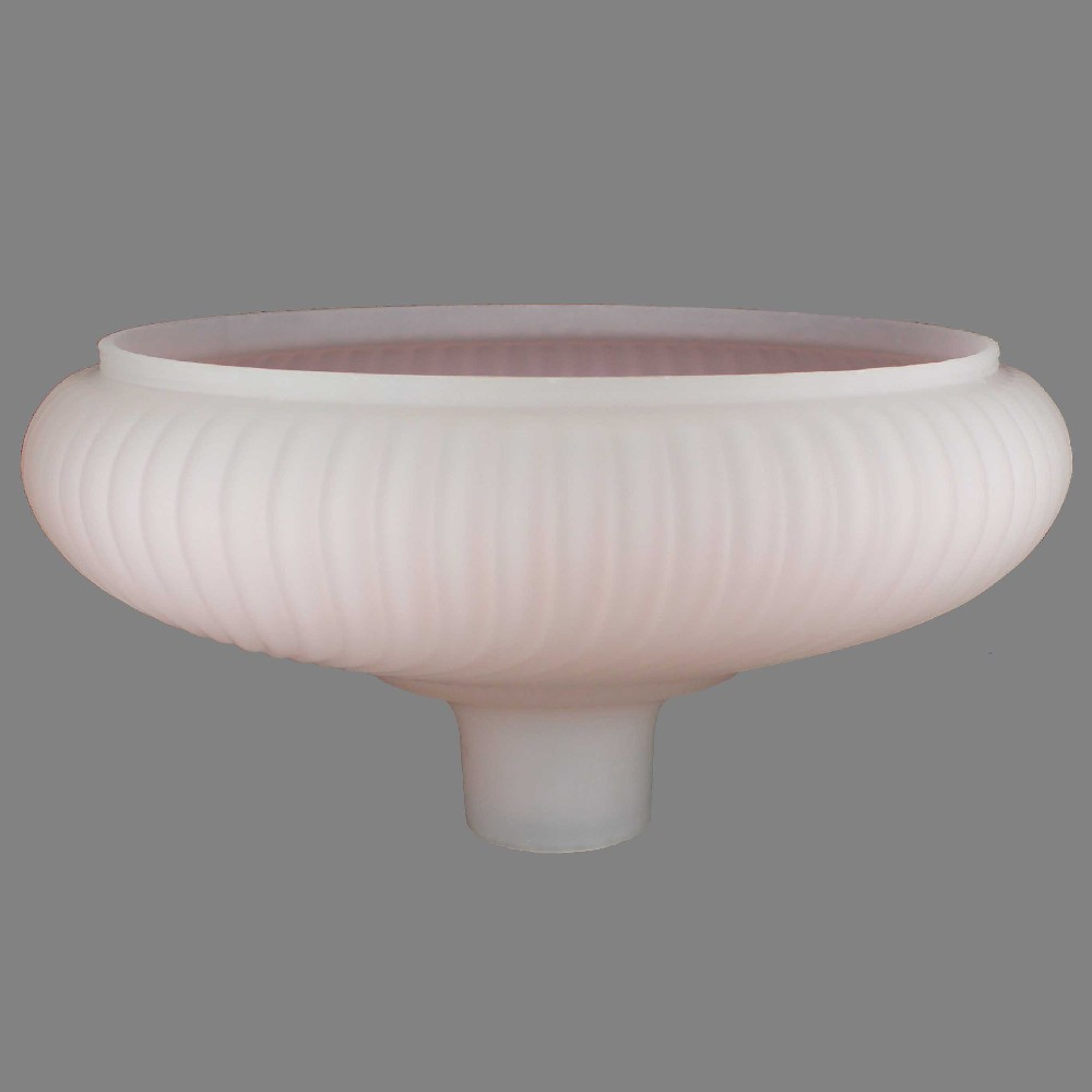 14IN. PINK FROSTED RIBBED SWIRL TORCHIERE SHADE WITH 2-3/4IN. NECK