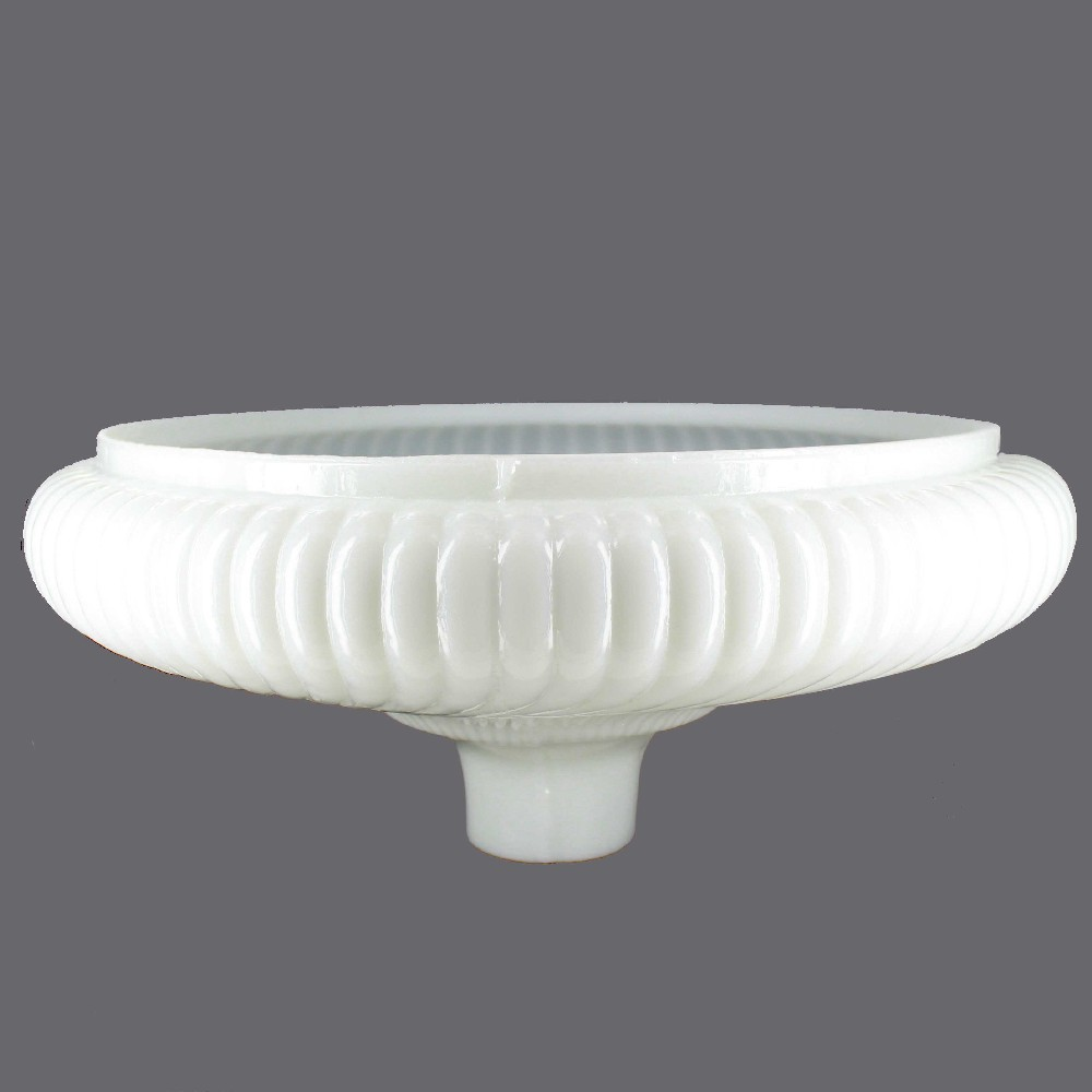 16in. Opal White Ribbed Swirl Torchiere Shade with 2-3/4in. Neck