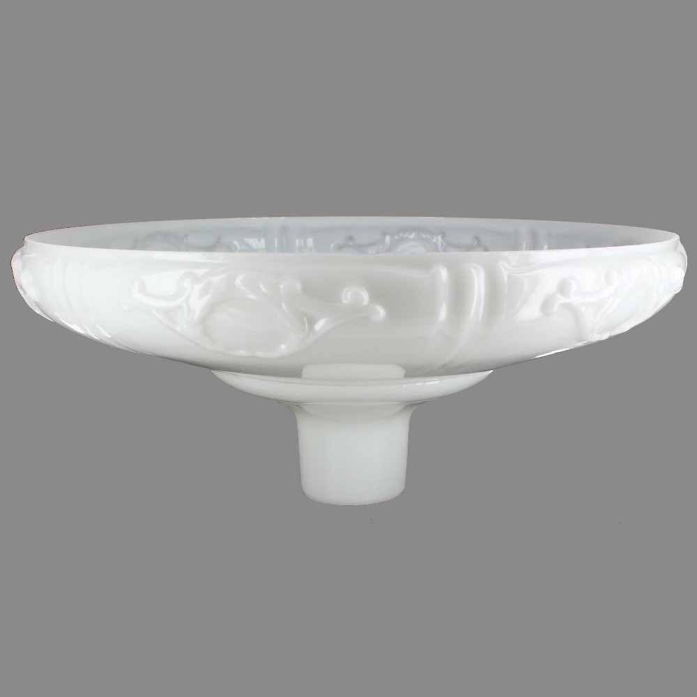 16-1/4IN. OPAL WHITE FRENCH DESIGN TORCHIERE SHADE WITH 2-3/4IN. NECK
