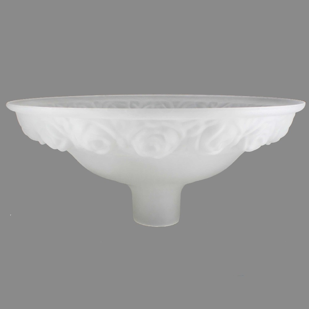 16-1/4in. Frosted with Embossed Roses Torchiere Shade with 2-3/4in. Neck