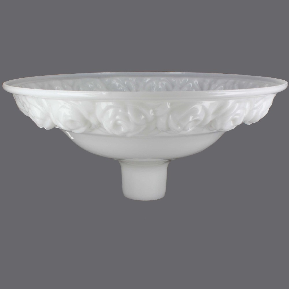 16-1/4IN. OPAL WHITE WITH EMBOSSED ROSES TORCHIERE SHADE WITH 2-3/4IN. NECK