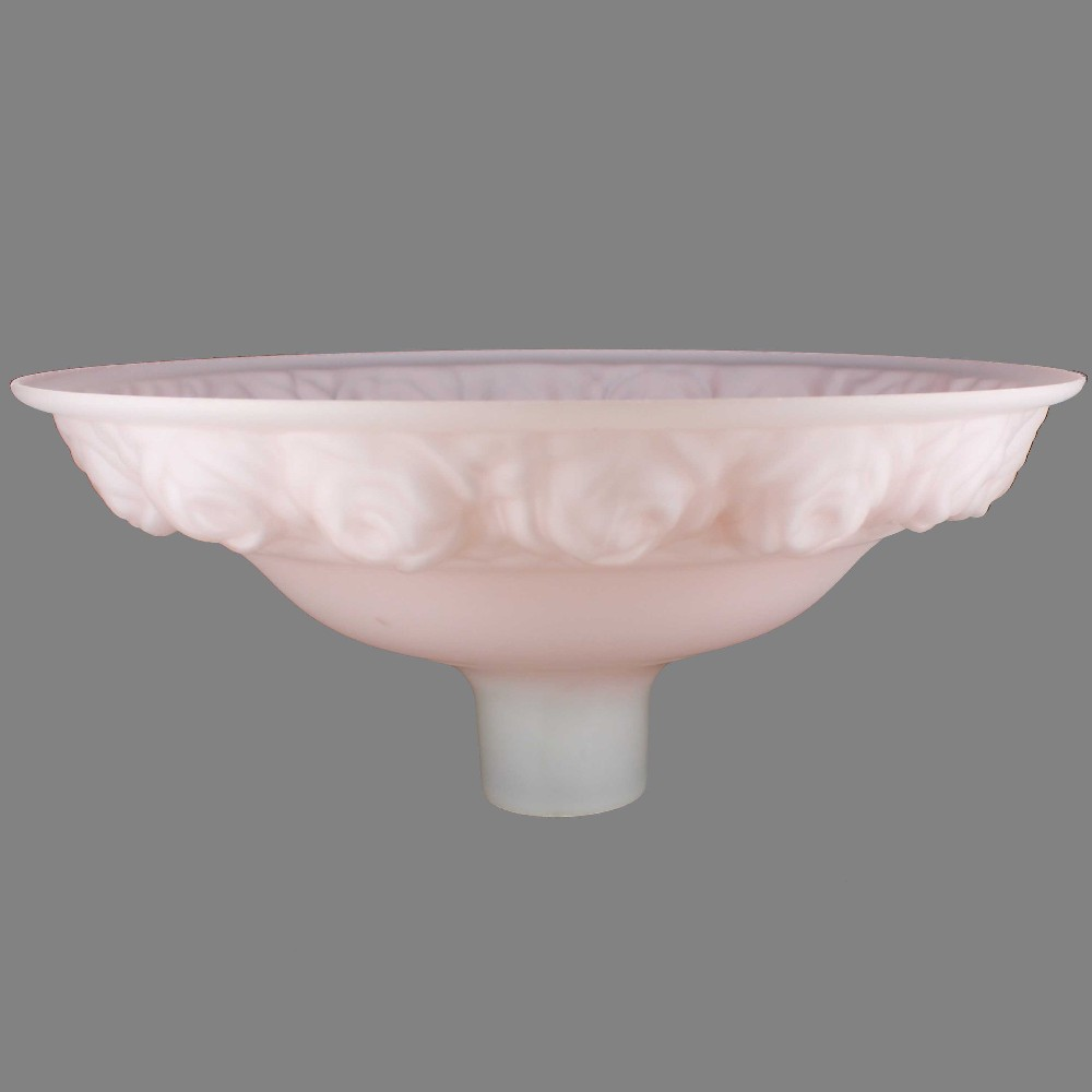 16-1/4IN. PINK FROSTED WITH EMBOSSED ROSES TORCHIERE SHADE WITH 2-3/4IN. NECK