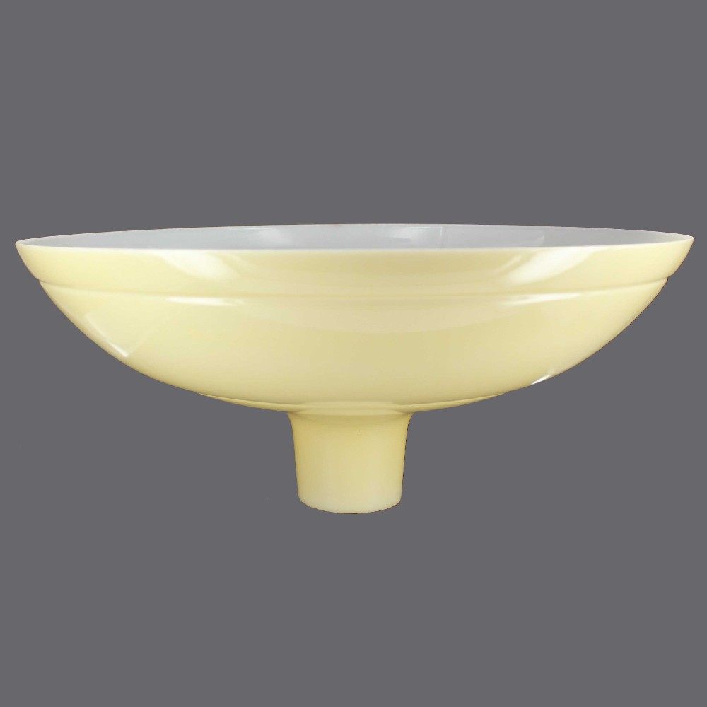 16-1/4in. Buff Color Bowl with Line Torchiere Shade with 2-3/4in. Neck
