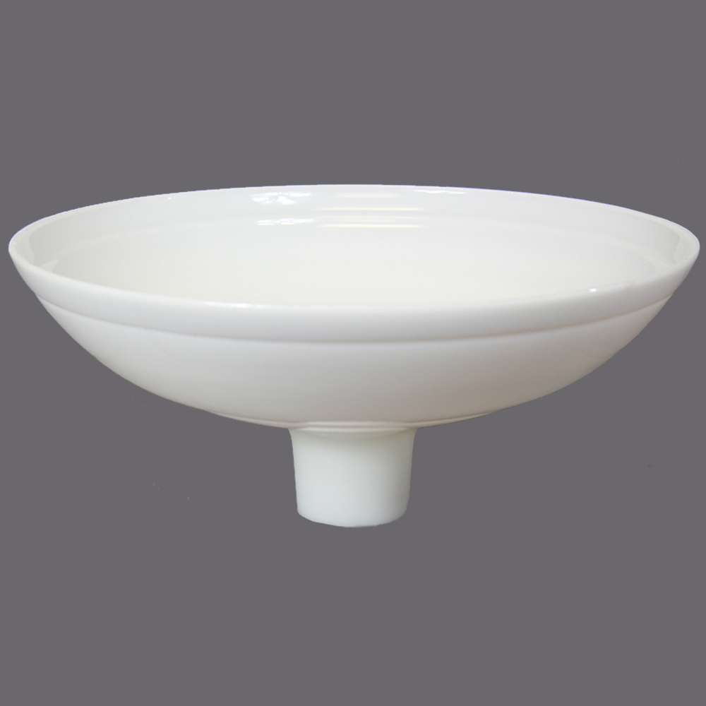 16-1/4in. Opal White Bowl with Line Torchiere Shade with 2-3/4in. Neck