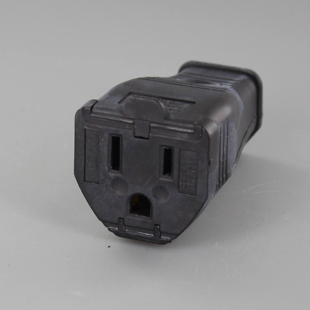 Black - Polarized Grounded Clamp-Tight Connector Outlet with Screw Terminal Wire Connection