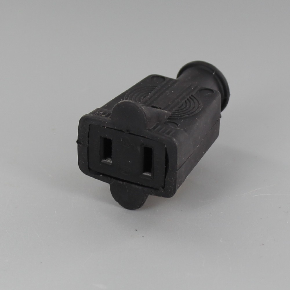 Black - Rubber Polarized Outlet with Screw Terminal Wire Connection
