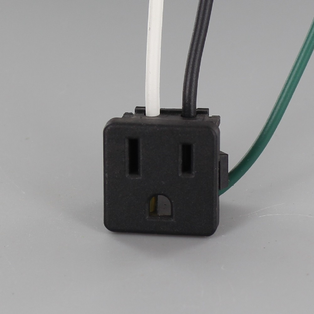 Black - Snap-In, Straight Blade, Grounding, Wired Receptacle