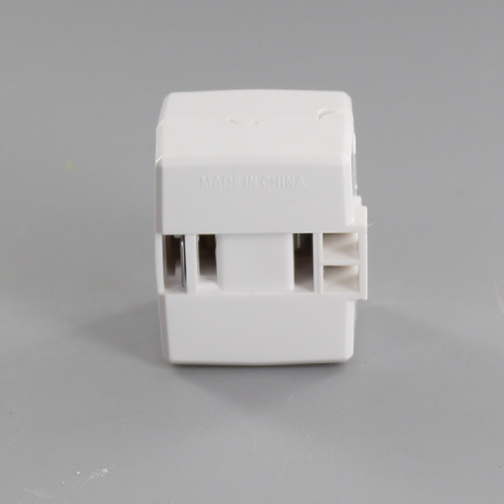 WHITE POLARIZED ADD-AN-END CLICK-ON FEMALE CORD END OUTLET FOR 18-2 SPT-1 AND SPT-2 WIRE
