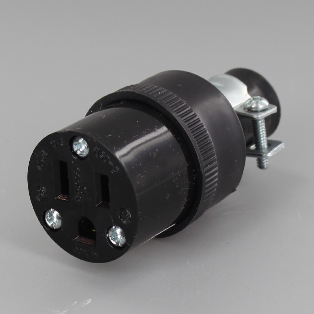 Black - Commercial Grade Rubber Grounded Connector Outlet