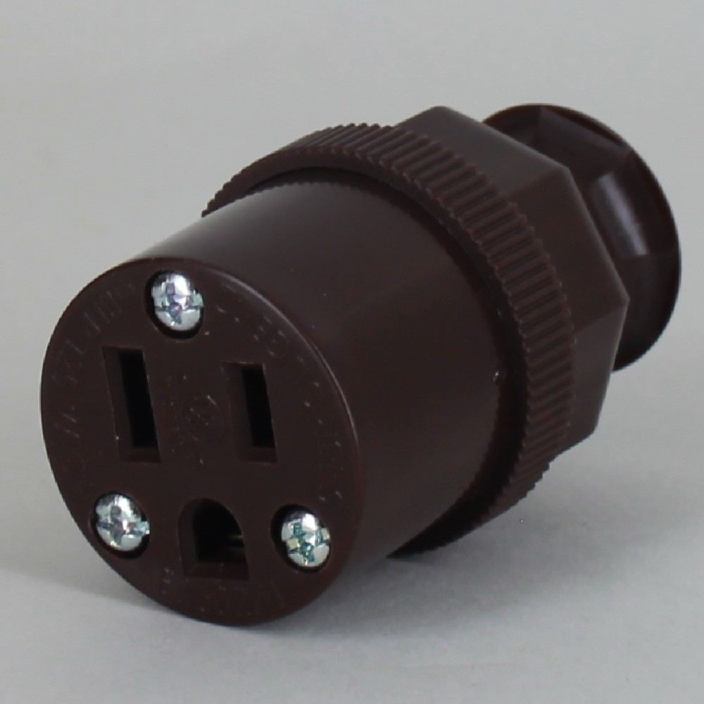 Brown - Antique Style Decorative Grounded Outlet with Screw Terminal Wire Connections