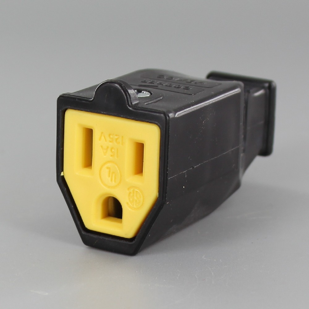 Black - 3 Wire Grounded Thermoplastic Outlet with Screw Terminal Connection